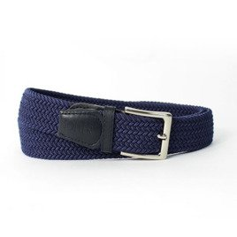 Elegant, woven belt for man SOLIER SB08 navy