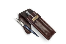 Leather men's pen case SA12 DEEP RED