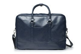 Navy men`s laptop shoulder bag Solier S04