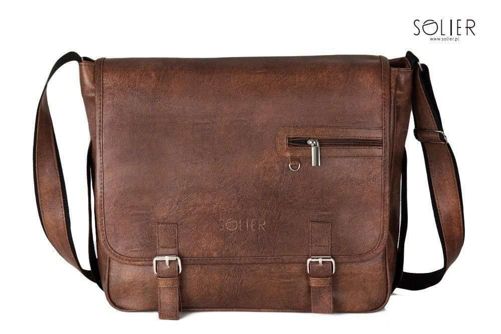 30040ff3118c8 Light brown shoulder laptop bag Solier S12 Brown Men  x60 s ba. TORBA S12  BROWN.. AWC STUDENT ALWAYS WILD TORBA SKÓRZANA MĘSKA ZAMSZ ...