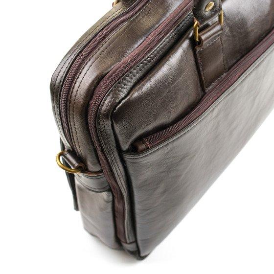 Brown leather shoulder laptop bag DUNDEE