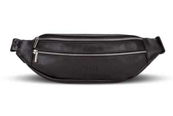 ECO LEATHER WAIST BAG SOLIER SN01 DARK BROWN