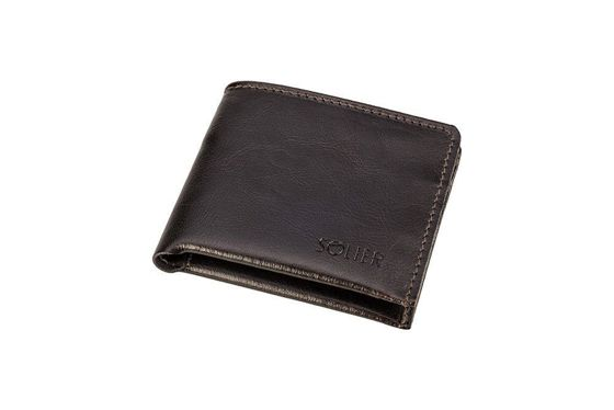 Elegant brown leather wallet SOLIER SW05B