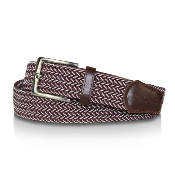 Elegant, woven belt for man SOLIER SB06 white-and-brown