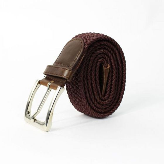 Elegant, woven belt for man SOLIER SB08 dark brown