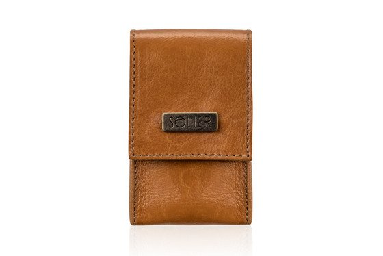 LEATHER MEN'S CIGAR CASE SOLIER SA14 SLIM CAMEL