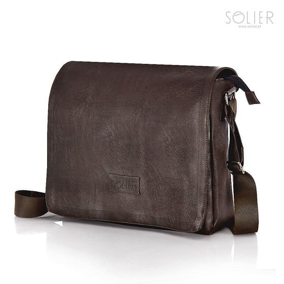 b52930da20bfc Męska brązowa miejska torba na ramię Solier S11 | sklep.solier.pl