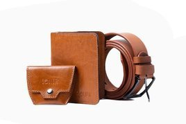Leather accessories set - SW10 wallet, coin wallet SA10 and SB11 belt