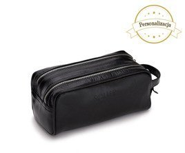 Personlised genuine leather men's beauty bag