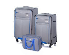 Soft luggage set Solier STL1311 grey-blue