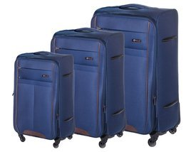 Soft luggage set Solier STL1311 navy-brown