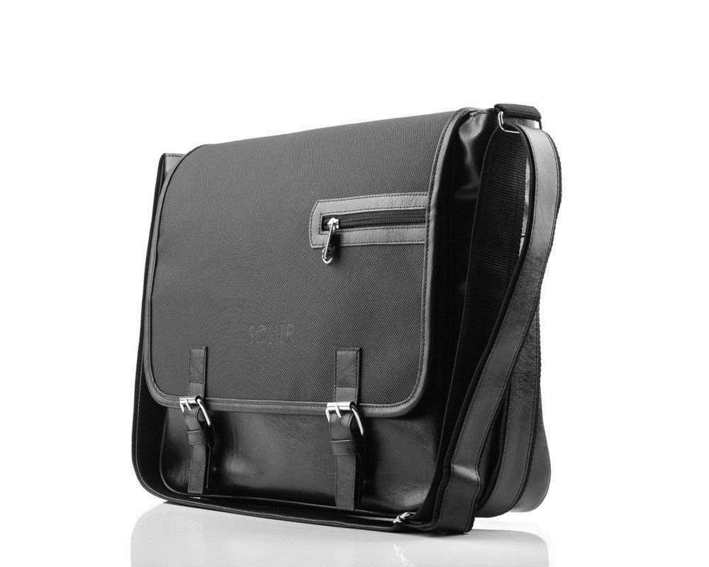 c2165dede4b64 Carbon black shoulder laptop bag Solier S12 Click to zoom ...