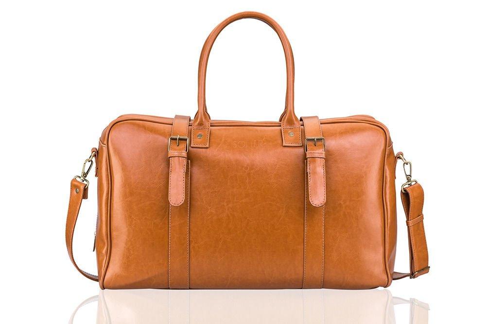 b05052bcb Cognac leather men`s weekend bag HAMILTON