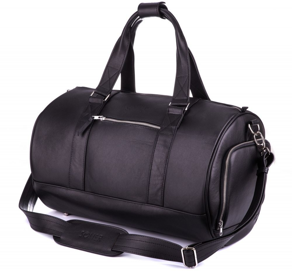 76c5f296c09a9 GENUINE LEATHER MEN S WEEKEND BAG SL19 BRANDON BLACK Black