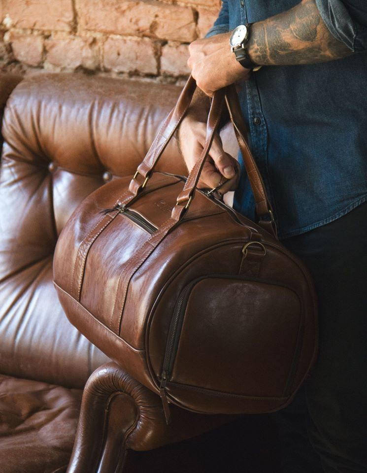 GENUINE LEATHER MEN'S WEEKEND BAG SL19 BRANDON VINTAGE BROWN Click to zoom  ...