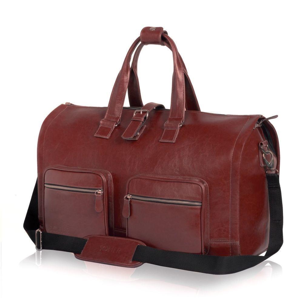 75abca129dca Genuine leather men's garment bag SL18 Harlow Maroon