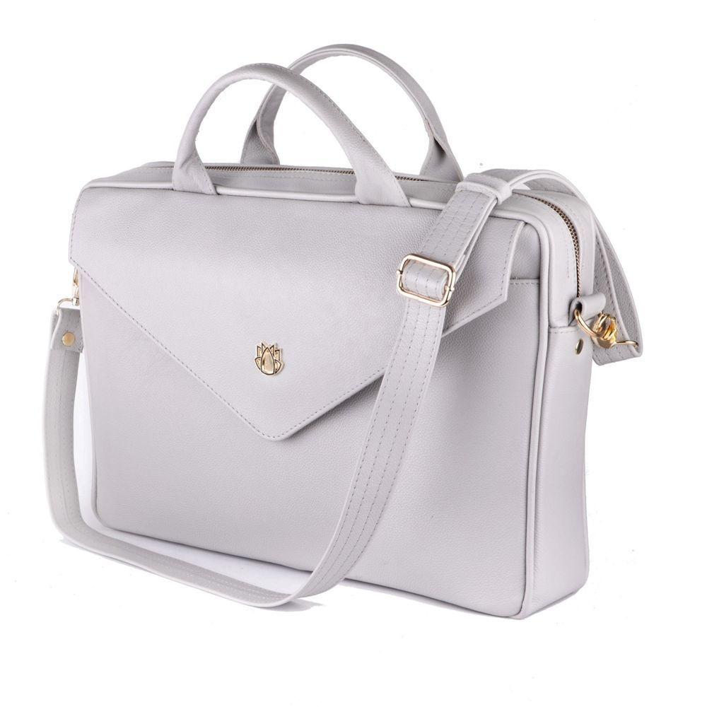 b30911d2ad5b8 Genuine leather woman s laptop bag FL15 Positano light grey Click to zoom  ...