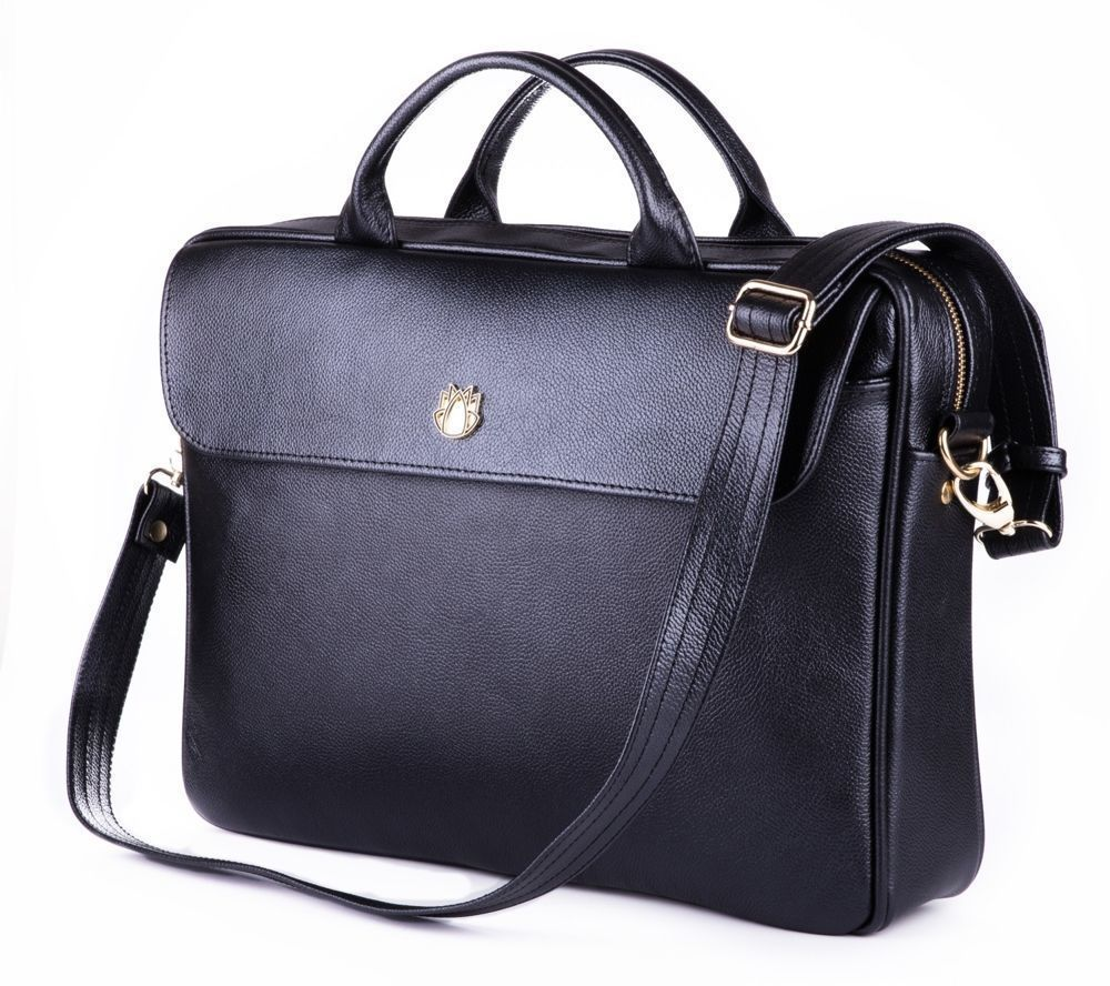 ea3bbbf09e4ca Genuine leather woman s laptop bag FL16 Sorrento black Black ...