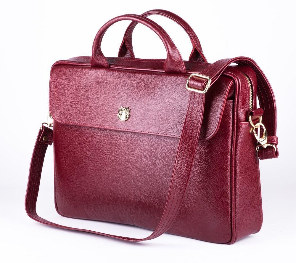 2923e354fd4863 Genuine leather woman's laptop bag FL16 Sorrento burgundy Click to zoom ...