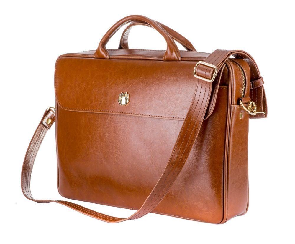 347e6793a90 Genuine leather woman's laptop bag FL16 Sorrento vintage brown