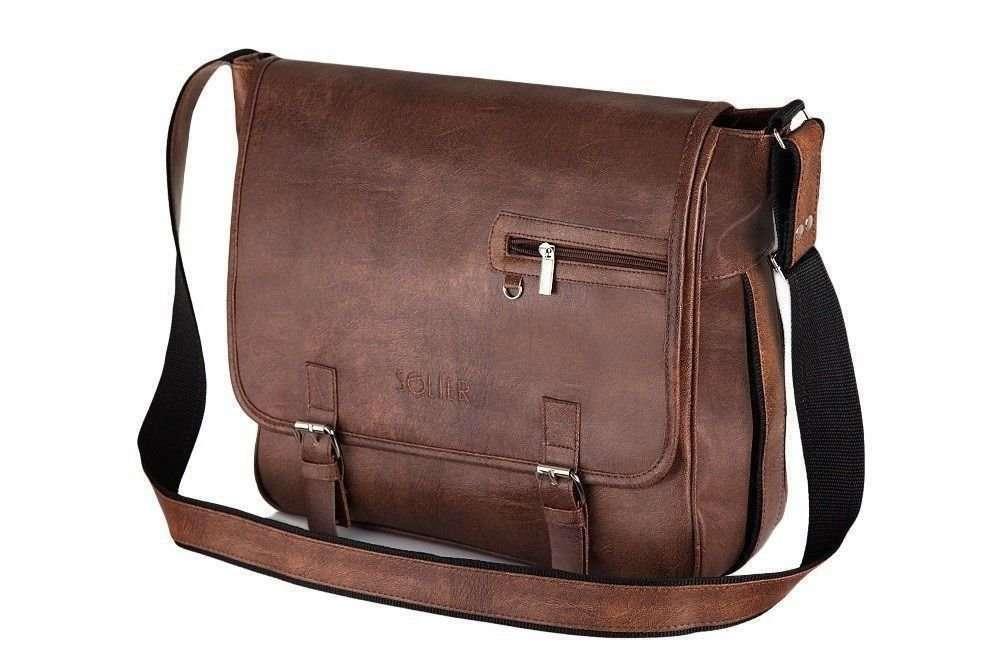 21d8dbd76ebf1 Light brown shoulder laptop bag Solier S12 Click to zoom ...