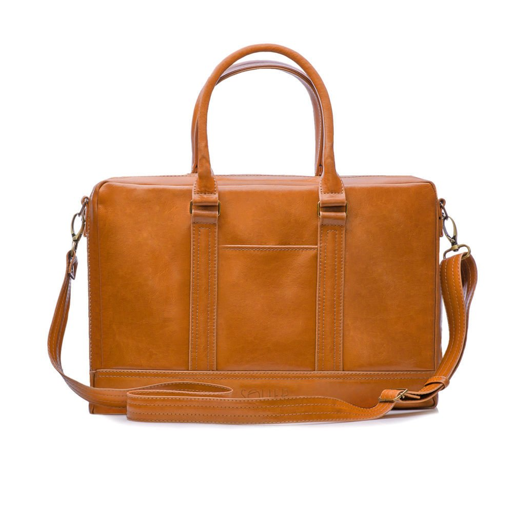 7fd4ccfd1a Men s leather shoulder laptop bag ABERDEEN Light brown