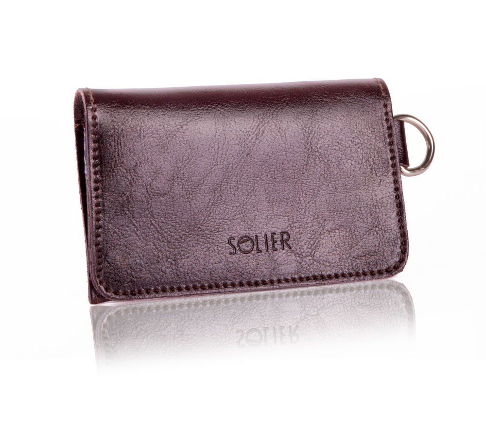 genuine leather men wallet note card coin key chain holder hand bag personalize