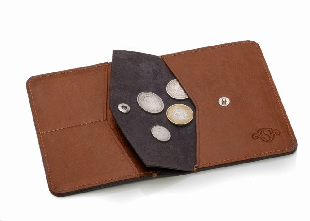 15b878df72df Slim leather men's wallet with coin holder SOLIER SW15A SLIM BROWN