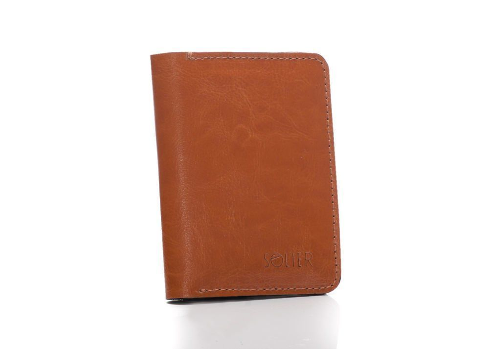 c500a3bd62622 Slim leather men s wallet with coin holder SOLIER SW15A SLIM LIGHT BROWN  Click to zoom ...