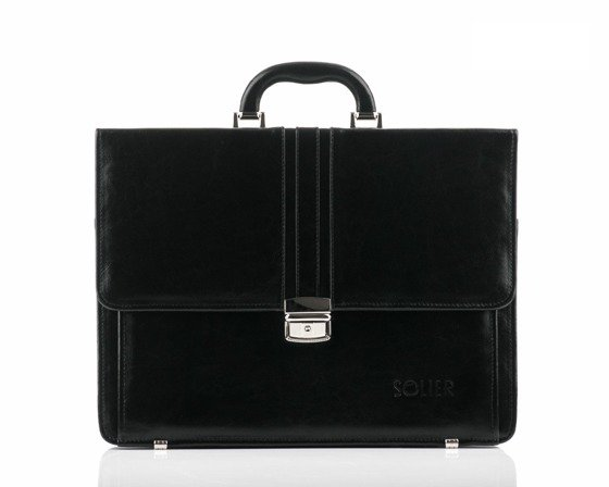 Black leather men's briefcase Solier Office