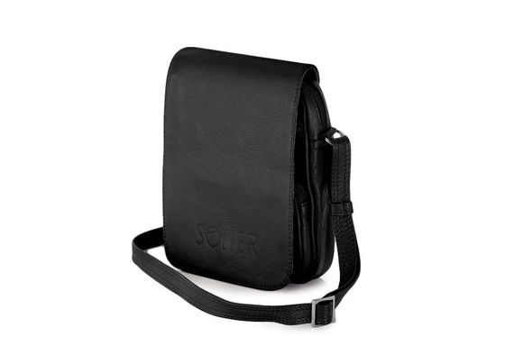 Black leather messenger Ipad case SL32