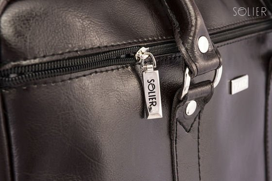 Black leather shoulder laptop bag KILBRIDGE