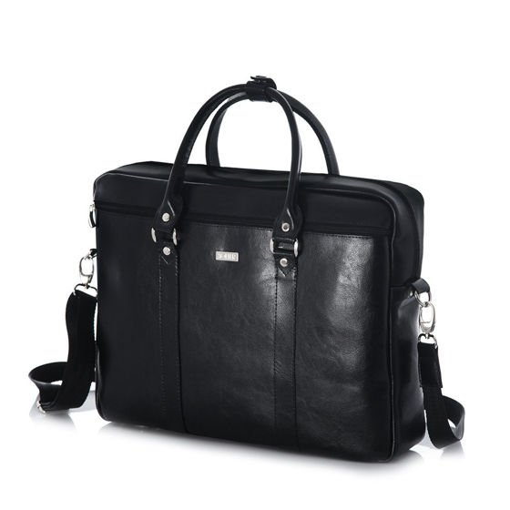 Black leather shoulder laptop bag SL03 KILBRIDGE