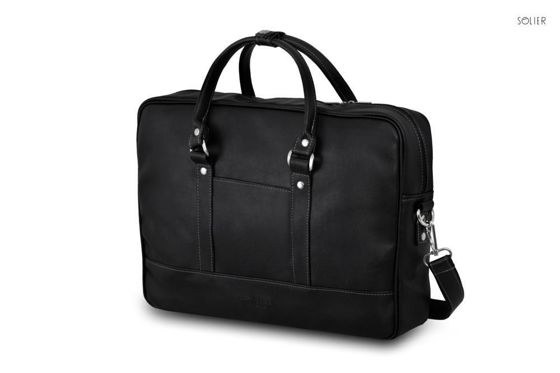 Black men`s laptop shoulder bag Solier S04