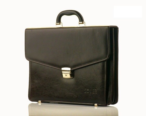 Brown leather men's briefcase Solier Business