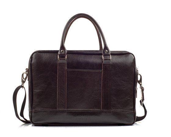 Brown leather shoulder laptop bag ABERDEEN