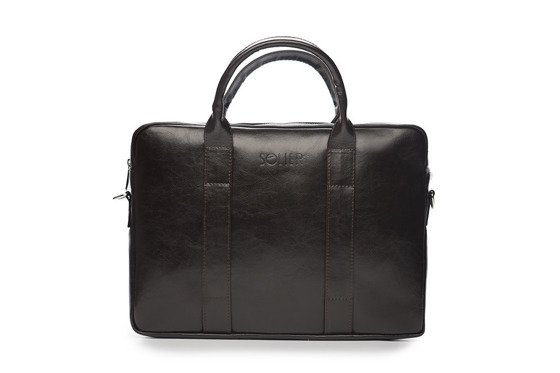 Brown leather shoulder laptop bag EDYNBURG