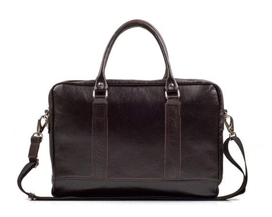 Brown leather shoulder laptop bag SL02 ABERDEEN