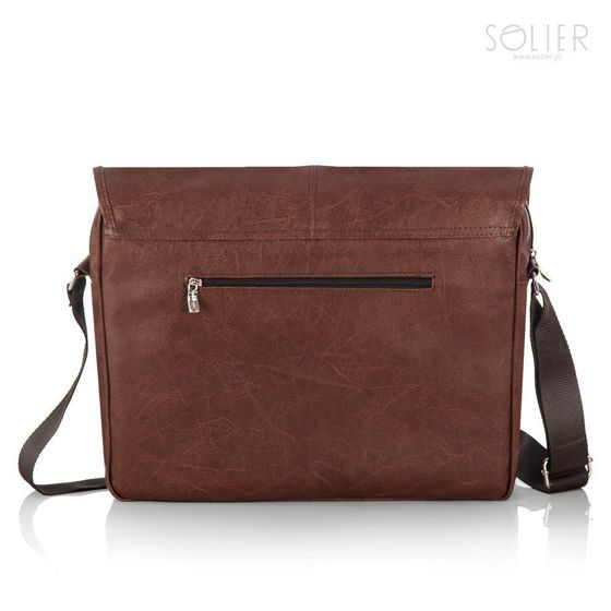 Casual brown men`s shoulder bag, laptop bag Solier S15