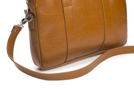 Cognac leather shoulder laptop bag EDYNBURG