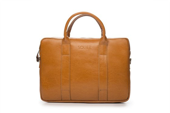 Cognac leather shoulder laptop bag SL20 EDYNBURG