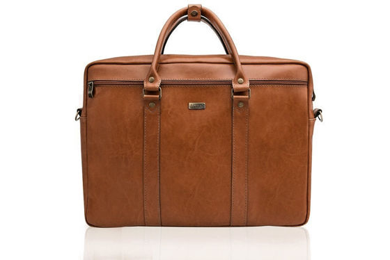Cogniac leather shoulder laptop bag KILBRIDGE