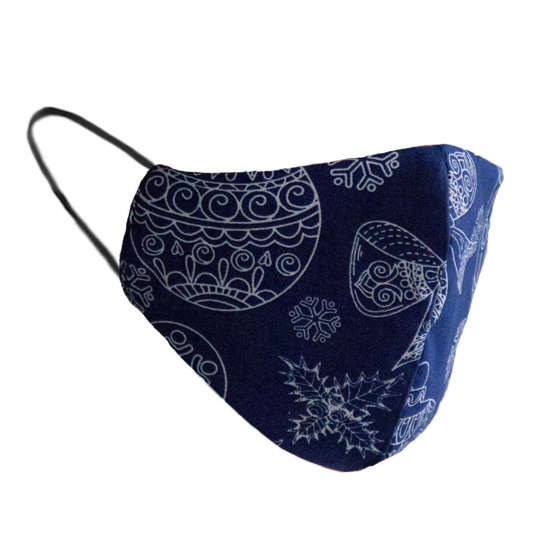 Cotton protective 2-layer mask navy bubles