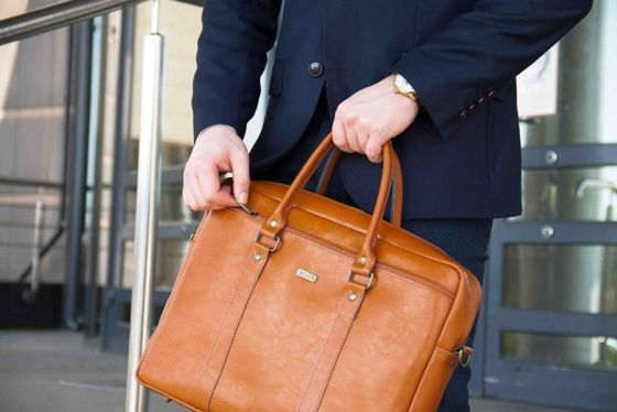 Dark brown leather shoulder laptop bag KILBRIDGE