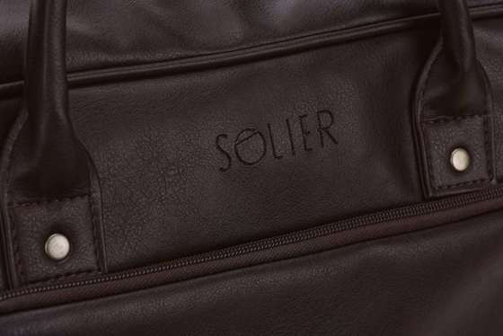 Dark brown shoulder laptop bag Solier S19 FOXFORD