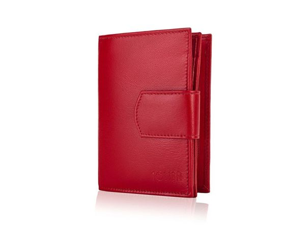 Elegant Women's leather wallet Solier P21 red RFID