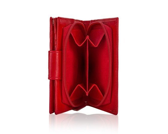 Elegant Women's leather wallet Solier P25 red RFID