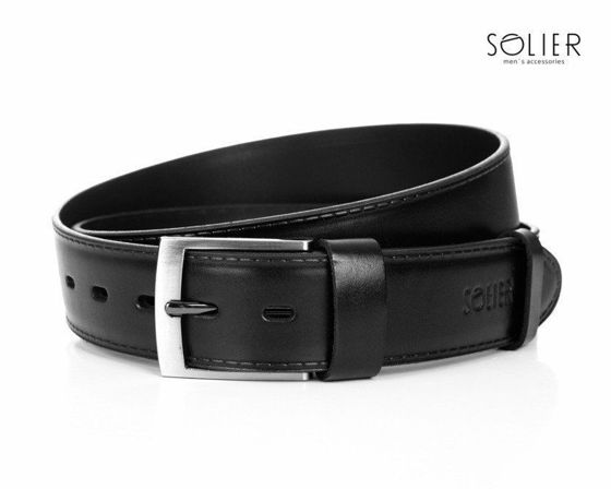 Elegant black leather belt SOLIER SB05