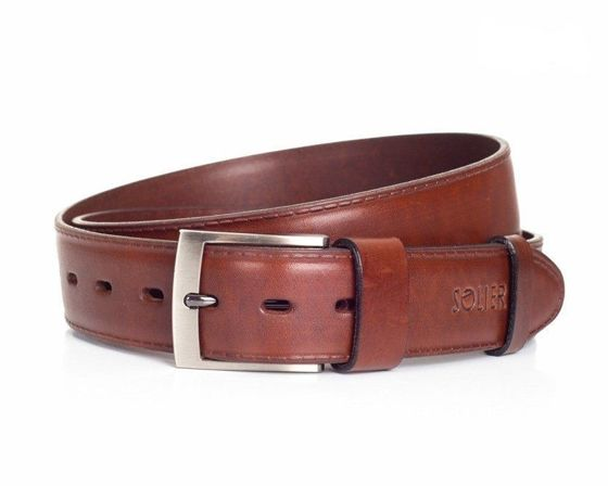 Elegant, brown leather belt for man SOLIER SB05