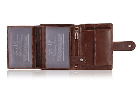 Elegant brown leather wallet RFID SOLIER SW31